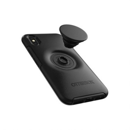 Otter + Pop for iPhone Xs Max: OtterBox Symmetry Series Case with PopSockets Phone Grip and Phone Stand, Black with Aluminum Black